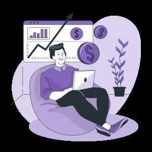 An employee analysing revenue stats