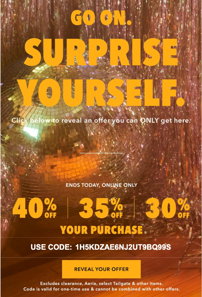 Example of a mystery sales promotion