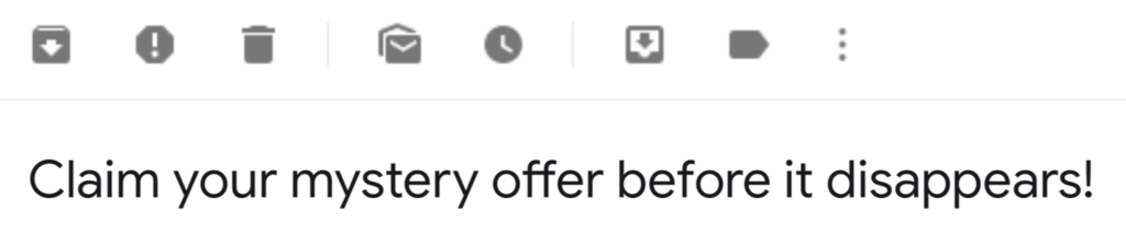 A mystery prize subject line of a sales promotion mail