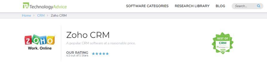 Zoho reports: Dashboard software
